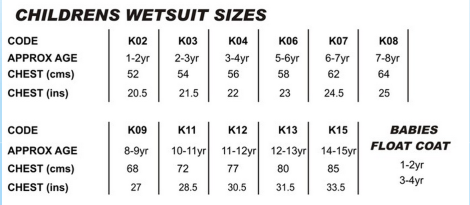 TWF KID'S SIZING CHART